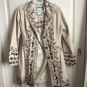 Tan Embroidered Coat